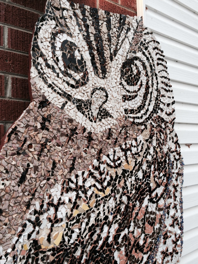 Mosaic Owl close up view